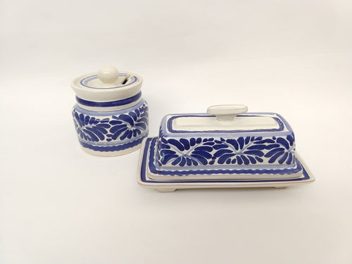 Butter Dish & Jam Jar in Blue and White