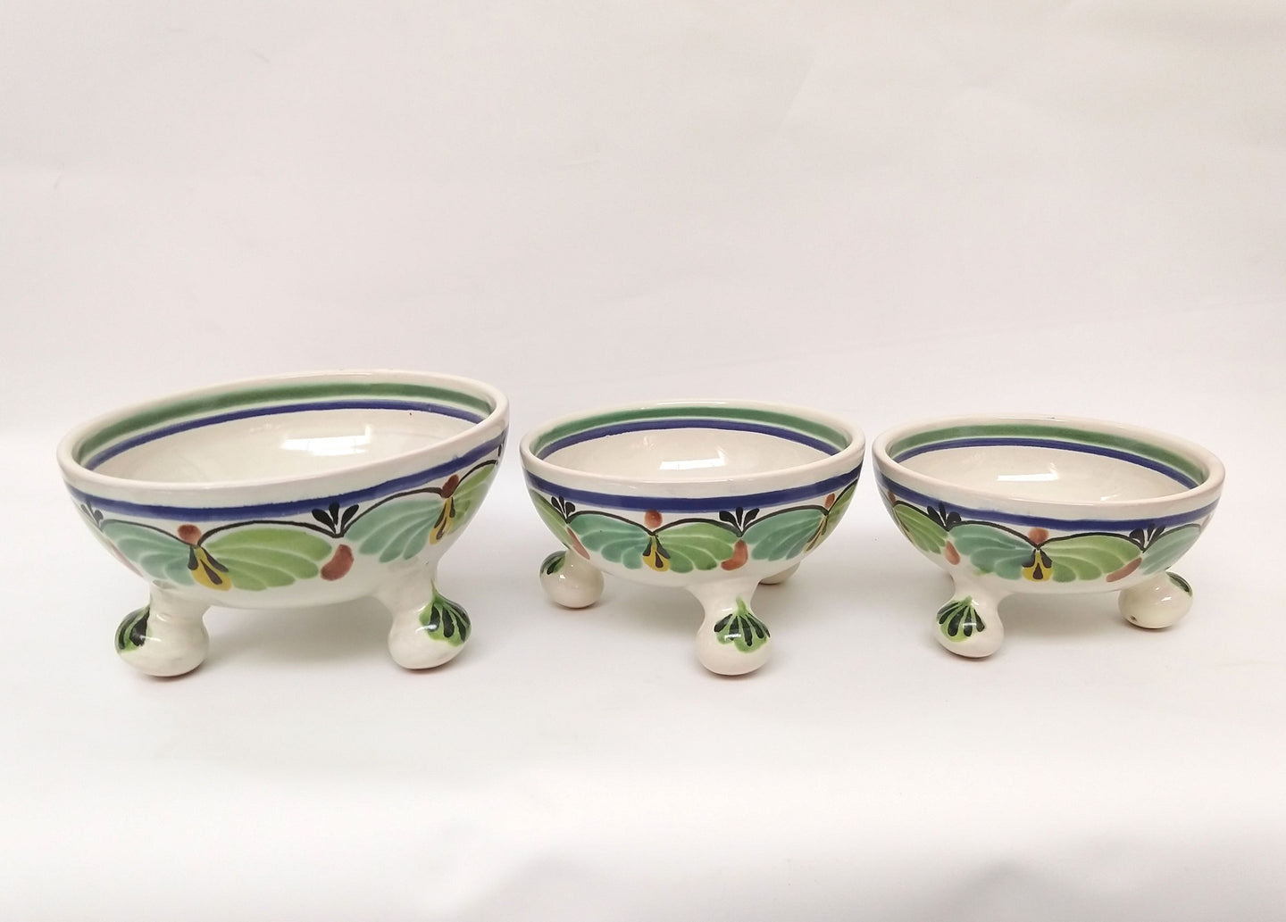 Footed Bowl Set(3) Green-Blue Colors