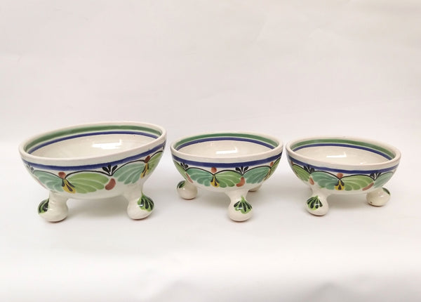 FOOTED BOWLS SET(3) IN COLORS Price 98 usd