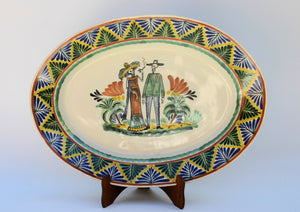 Wedding Catrina Large Oval Platter 17.3x21.6 in D Blue-Yellow-Black Colors