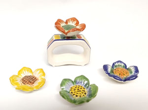 Set of 4 Rectangular Napking Ring + 4 Margarita Flower figure in Colors (Just Pre orders)