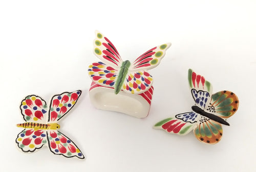 Napking Ring Rectangular Set of 4 + 4 Butterfly Figure