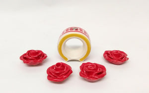Set of 4 Round Napking Ring + 4 Rosa Figure (Just Pre orders)