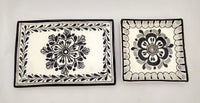 Flower Set of Wave Rectangular Tray & Mini Square Plate B & W
