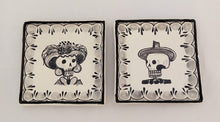 "Catrina Mini Square Plate 5*5"" Set of 2 Black and White - Mexican Pottery by Gorky Gonzalez"