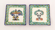 "Catrina Set of 2 Mini Square Plate / Tapa Plate 5 x 5 "" Green Colores - Mexican Pottery by Gorky Gonzalez"