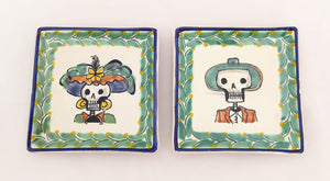 "Catrina Set of 2 Mini Square Plate 5 x 5 "" Green Colores"