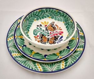 Butterfly Dish Set (6 pieces) One Service MultiColors - Mexican Pottery by Gorky Gonzalez