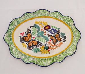 "Butterfly Tray Cut Flat Platter 15*11"" Green-Orange Colors - Mexican Pottery by Gorky Gonzalez"