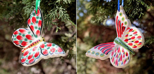 Ornament Butterfly Set of 2 in red colors