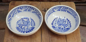 Bird Cereal/Soup Bowl Set of 2 Pieces Blue and White