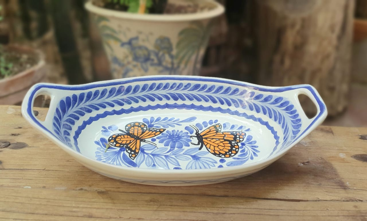 Butterfly Oval Bowl with handles / Serving Piece Blue and White