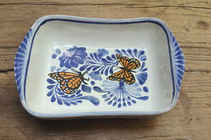 "Butterfly Mini Rectangular Bowl 7.7"" x 5.3"" Blue and White"