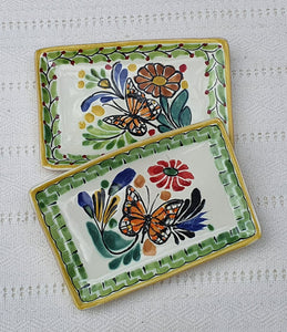 "Butterfly Mini Rectangular Tray 3.9 X 5.5"" Set of 2(Pieces) Multicolors"