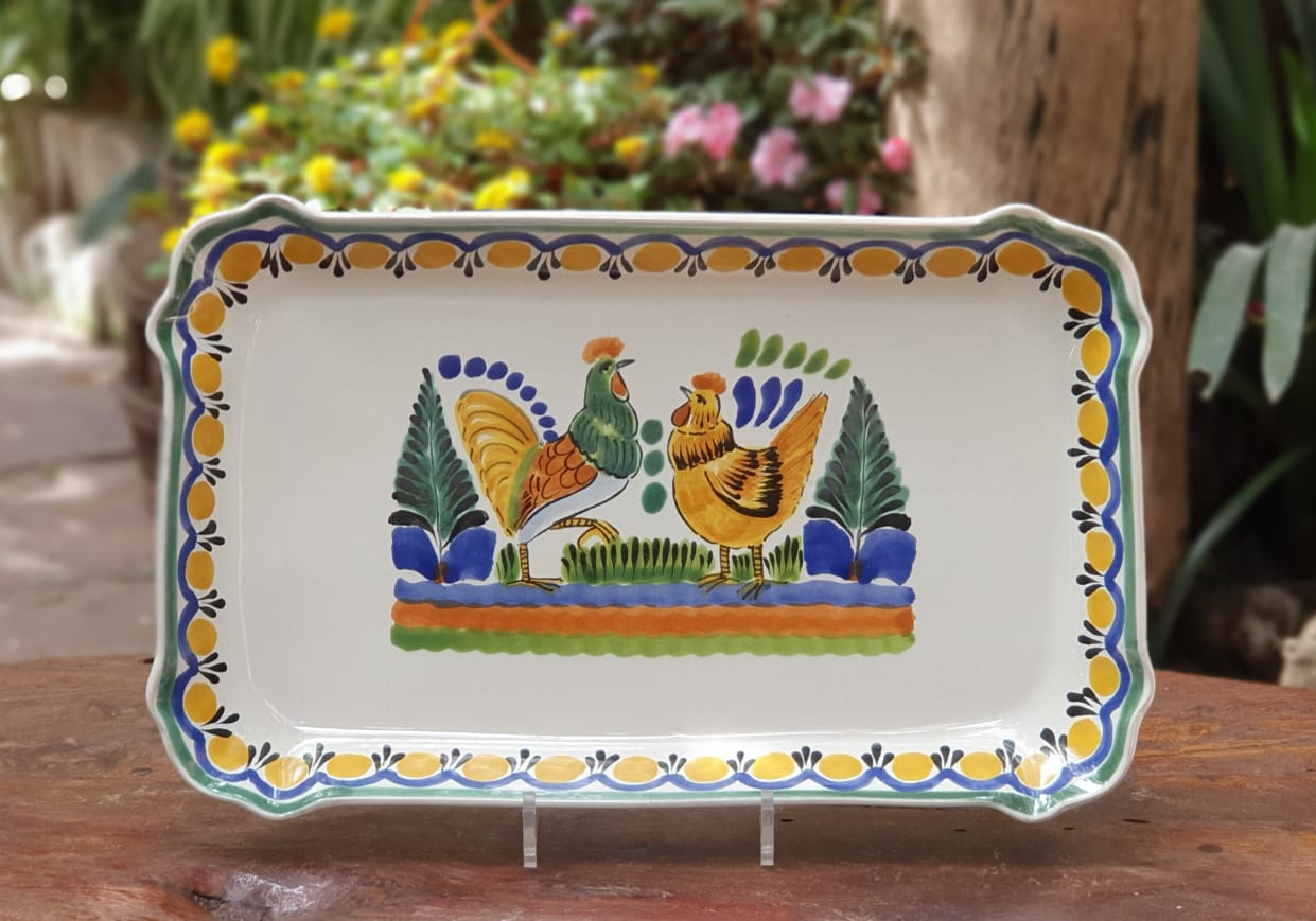 Rooster Couple Tray / Serving Rectangular Platter 10.6 X 16.9