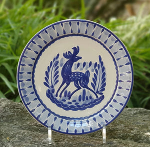 Deer Plates Blue and White