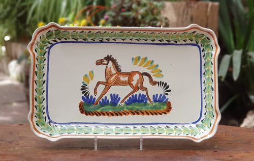 Horse Decorative / Tray Rectangular Platter 10.6 X 16.9 in Multi-colors