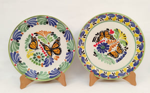 "Butterfly Dinner Plate 10.2"" Diameter Set of 2 - Mexican Pottery by Gorky Gonzalez"