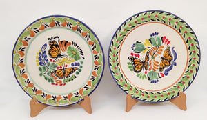 "Butterfly Dinner Plate 10.2"" Diameter Set of 2 Green-Terracota Colors - Mexican Pottery by Gorky Gonzalez"