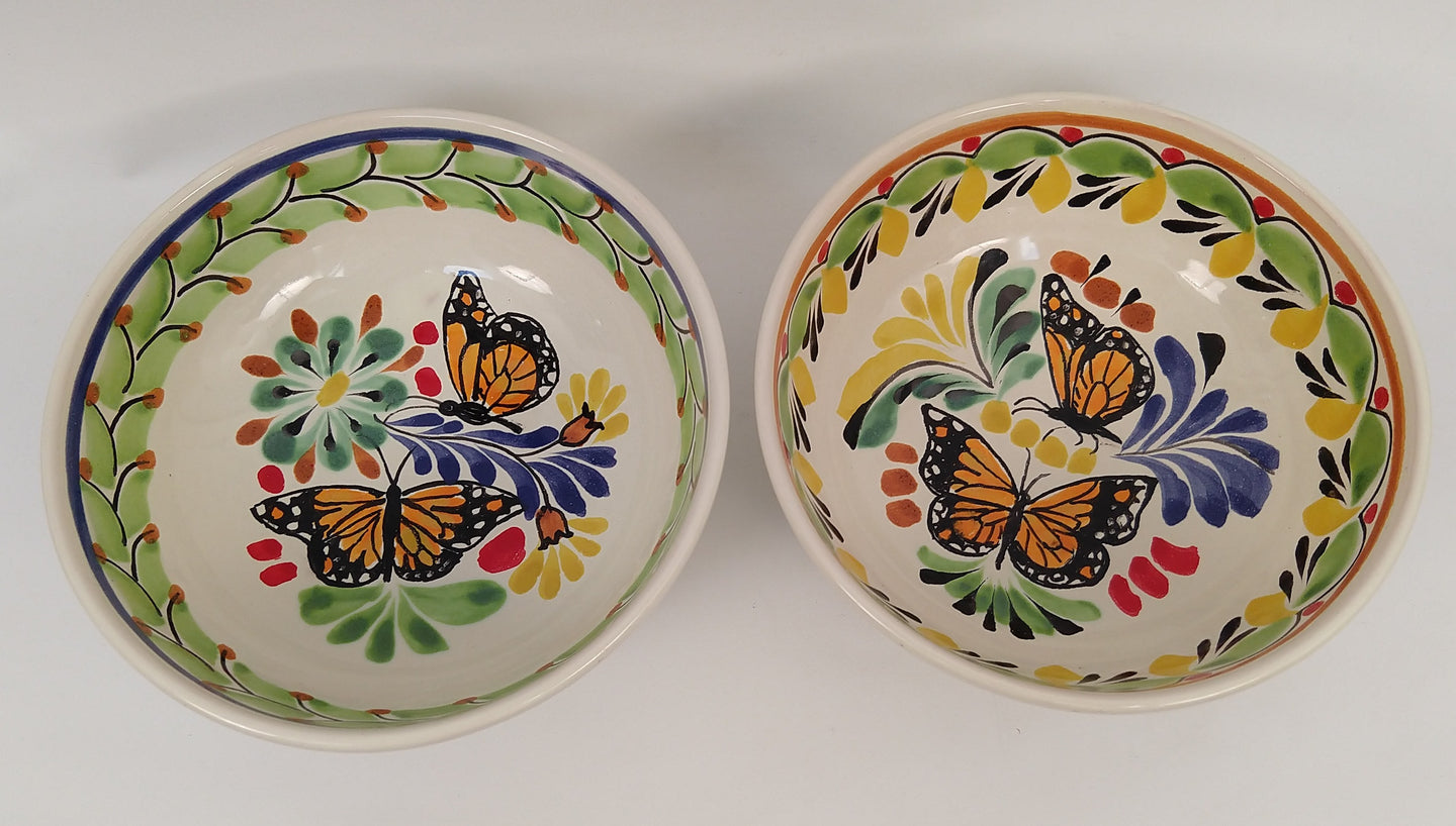 Butterfly Cereal Bowl 16.9 Oz Set of 2 Green Colors - Mexican Pottery by Gorky Gonzalez