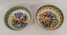 Butterfly Cereal Bowl Set of 2 16.9 Oz Gree-Yellow-Blue Colors - Mexican Pottery by Gorky Gonzalez