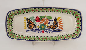 "Butterfly Tray Mini Rectangular Platter 7.1 X 14.6"" Green-Black-Blue Colors - Mexican Pottery by Gorky Gonzalez"