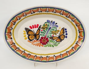 "Butterfly Special Oval Platter 17.3x21.6"" Terracota-Blue Colors"