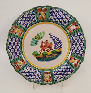 "Rabbit Flower Shape Dinner Plate 11"" D Blue-Green Colors"