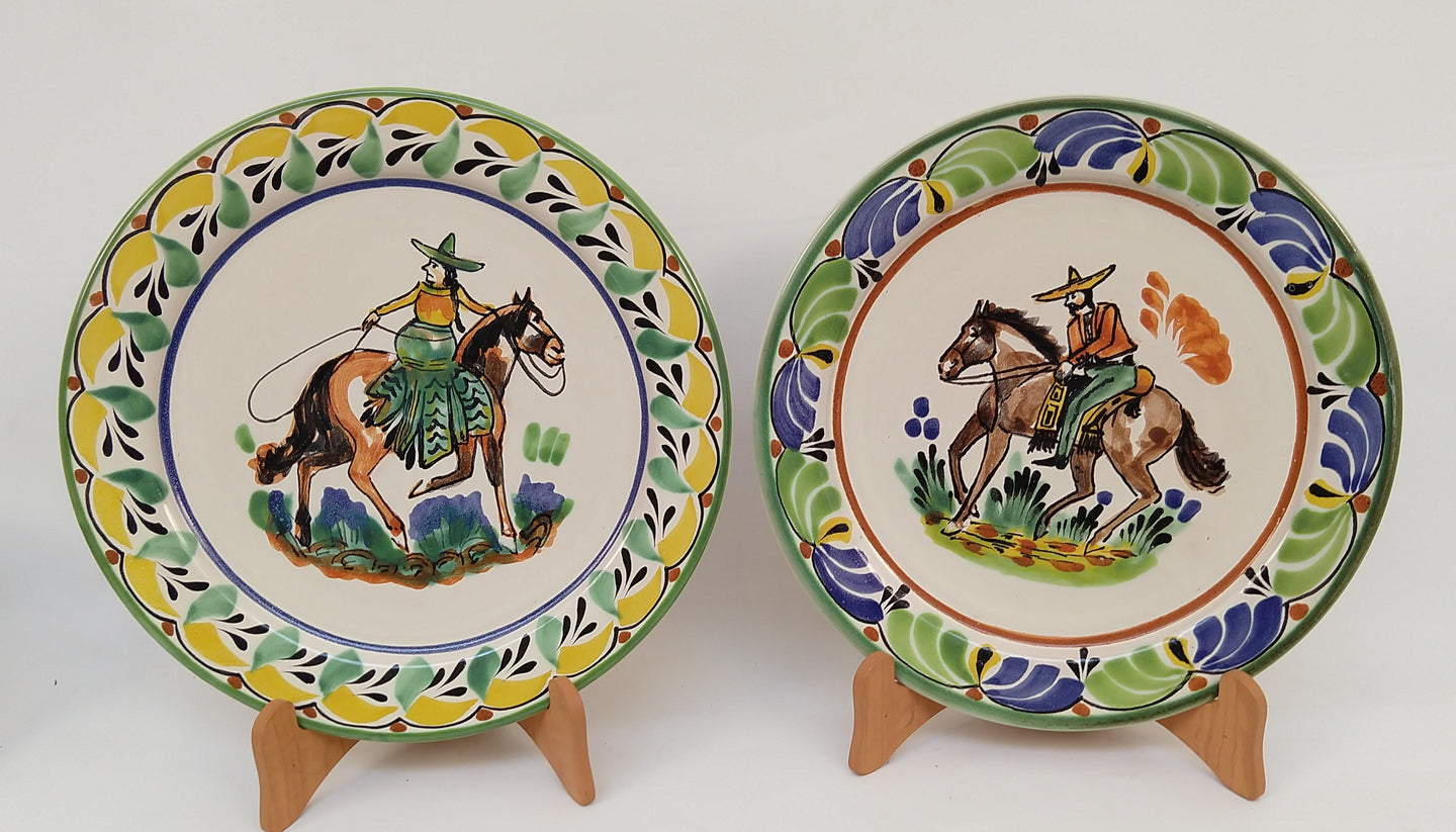 CowGirl and CowBoy Dinner Plate 10.2 in D Set of 2