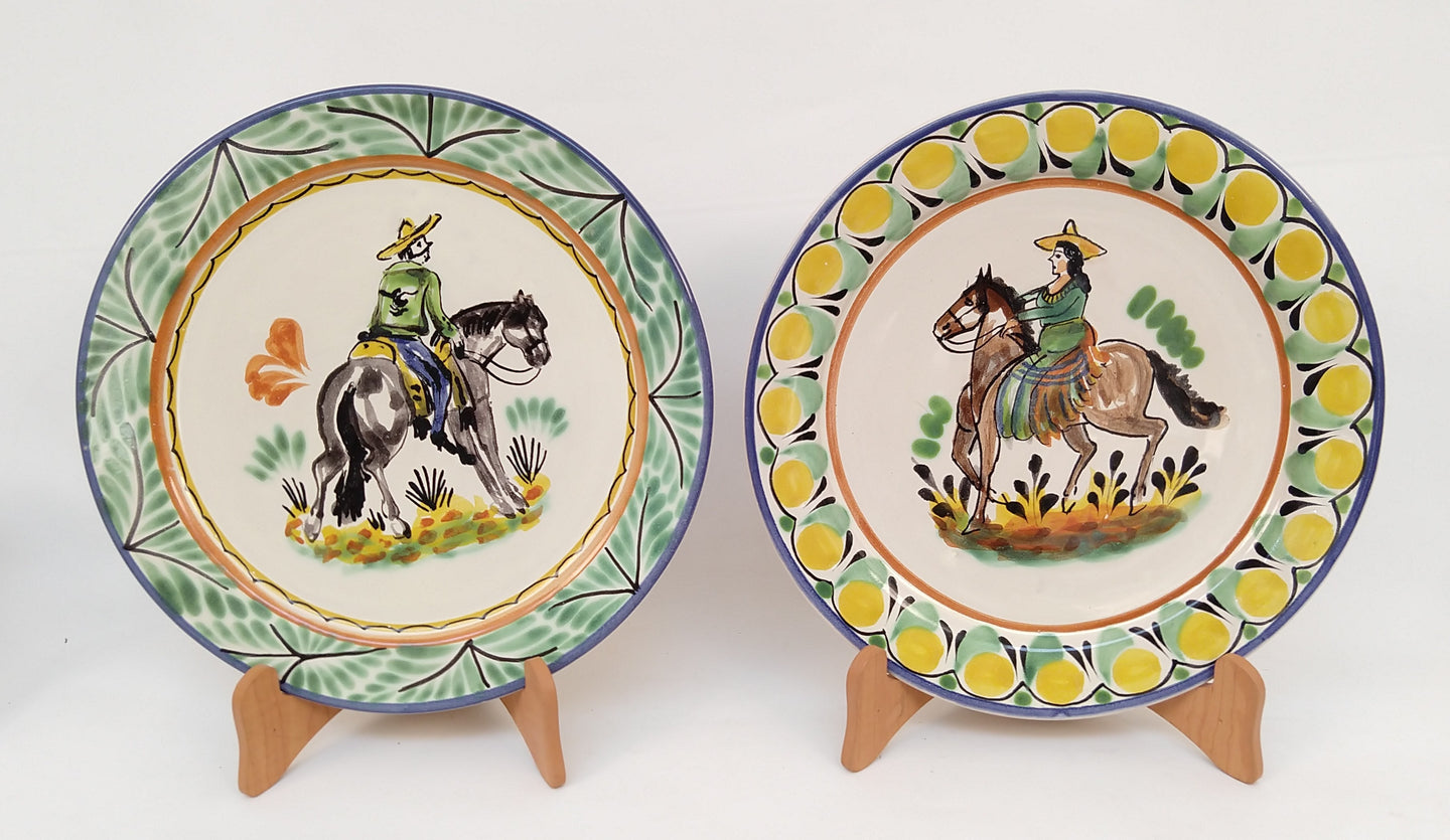 CowBoy and CowGirl Dinner Plate 10.2 in D Set of 2 pieces