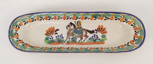 "CowGirl Oval Long Plate 17.3*5.5"" Green-Tarracota-Blue Colors"