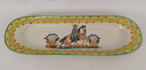 CowBoy Oval Long Plate 17.3x5.5 in Yellow Colors