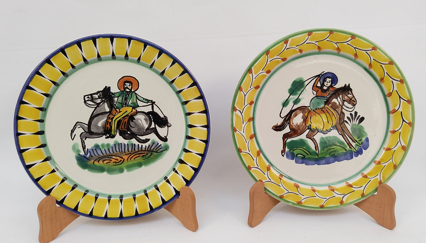 CowBoy and CowGirl Dinner Plate 10.2 Yellow Colors
