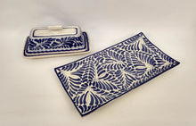 Buther Dish & Small Tray Set of 2 Milestones Blue and White - Mexican Pottery by Gorky Gonzalez