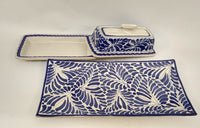 Set of Buther Dish & Small Rectangular Plate in blue and white