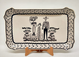 "Catrina Rectangular Platter 10.6 X 16.9 "" Black and White"