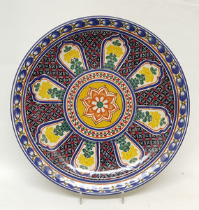 "Morisco Platter 17.7"" D Blue-Yellow Colors"