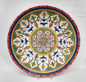 "Morisco Platter 21.6"" D Red-Blue Colors"