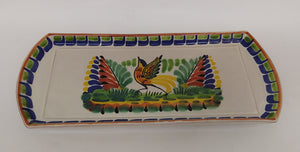 "Bird Large Tray 6.1*14"" Blue-Green Colors"