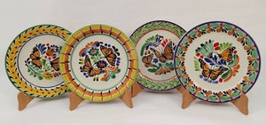 "Butterfly Salad Plate 8.7"" D Set of 4 - Mexican Pottery by Gorky Gonzalez"