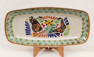 "Butterfly Tray Mini Rectangular Platter 7.1 X 14.6"" Green-Terracota Colors - Mexican Pottery by Gorky Gonzalez"