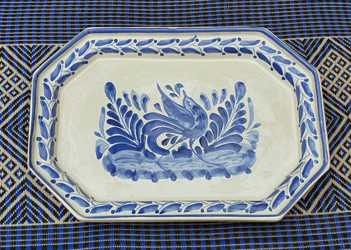 Bird Small Octagonal Tray Blue and White Colors