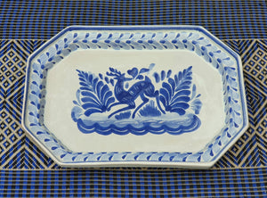 Deer Small Octagonal Tray Blue and White Colors