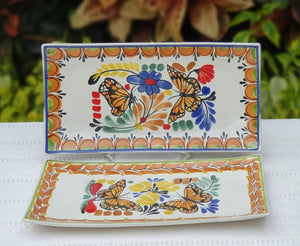 "Butterfly Tray Small Rectangular Plate 11*5.7"" Set Of 2(Pieces) MultiColor"