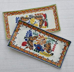 "Butterfly Tray Large Rectangular Plate 15*7.5"" Set of 2(Pieces) Multicolors"