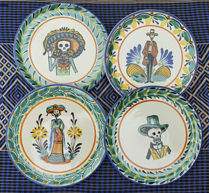 "Catrinas Bread Plate / Tapa Plate 6.3""D Set (4 pieces) Multicolor"