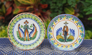 "Catrina Bread Plate / Tapa Plate 6.3"" D Multicolors Set of Los Compadres (2 pieces)"