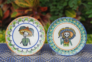 "Catrina Bread Plate / Tapa Plate 6.3"" D Multicolors Set of Las Comadres (2 pieces)"