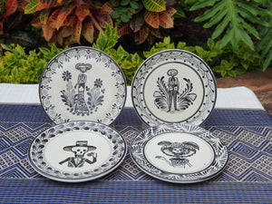 "Catrinas Bread Plate / Tapa Plate 6.3""D Set (4 pieces) Black and White"