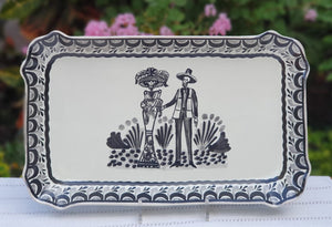 "Catrina Tray Decorative / Serving Rectangular Platter 10.6 X 16.9 "" Black and White"